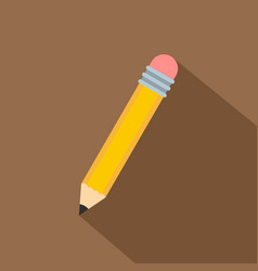 yellow pencil with eraser icon flat style vector image vector image