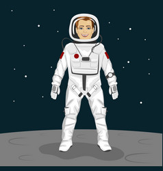 Young astronaut standing on the moon surface vector