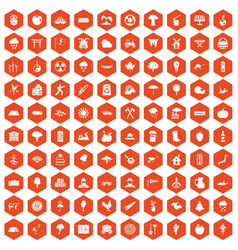 100 tree icons hexagon orange vector