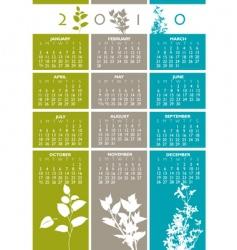2010 floral calendar vector image