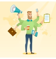 Man coping with multitasking vector image