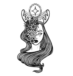 with beautiful girl Dryad Mythical vector image