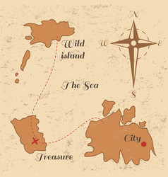 Vitage poster with old treasure map and wind rose vector