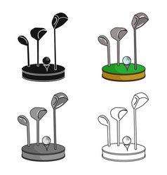 Golf ball and clubs on grass icon in cartoon style vector
