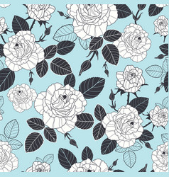 Vintage pastel blue black and white roses vector