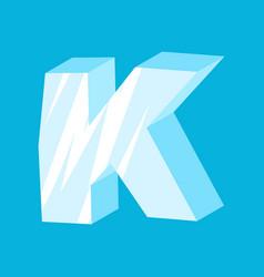 Letter k ice font icicles alphabet freeze vector
