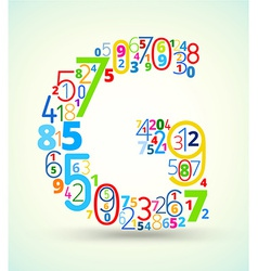 Letter G colored font from numbers vector image