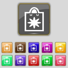 Shopping bag icon sign set with eleven colored vector