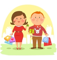 Cartoon people - couple with shopping bags vector