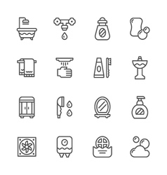 Set line icons of bathroom vector