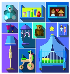 A set of furniture and childrens room vector