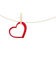 heart clothespins isolated vector image
