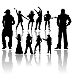 Silhouettes handmade dancing and singing vector