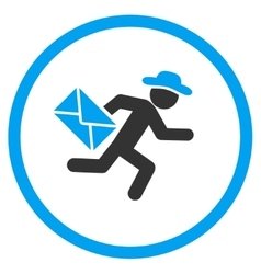 Man mail courier rounded icon vector