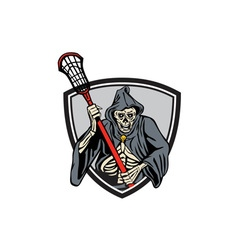 Grim reaper lacrosse player crosse stick retro vector