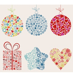 set of ornaments for christmas vector image