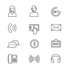 Contact support line icons vector
