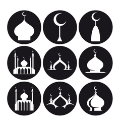 Black and white islamic mosque vector