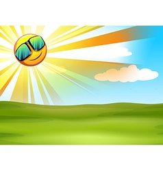 A bright sky and the beautiful green landscape vector