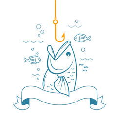 banner fishing with an open mouth vector image vector image