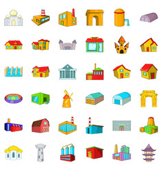 Big building icons set cartoon style vector
