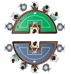 Casino furniture Poker table top view set 6 vector image