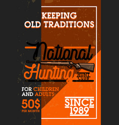 color vintage hunting club banner vector image vector image