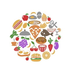 food circle set vector image vector image