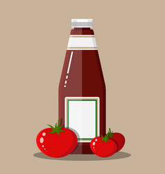 glass bottle of traditional tomato ketchup vector image vector image
