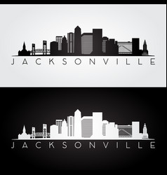 Jacksonville usa skyline and landmarks silhouette vector