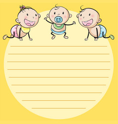 Line paper template with three babies vector