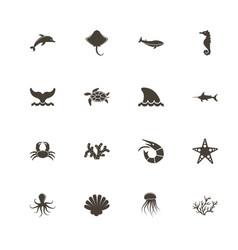 marine life - flat icons vector image