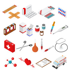 medical color icons isometric view vector image vector image