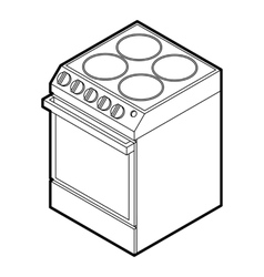 Modern electric cooker icon outline style vector