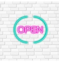 Neon lightning signboard open white brick vector