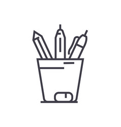 pencil holder line icon sign vector image vector image