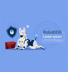 Robotic dog protecting data cute domestic animal vector