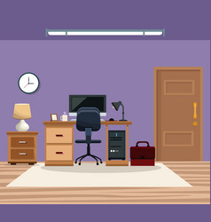 Room work desk chair computer table lamp clock vector