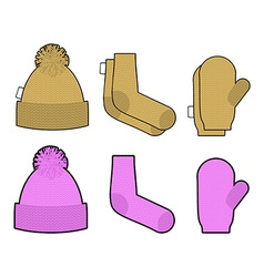 Set clothes for cold weather Winter knitted vector image