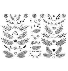 set of branches snowflakes flowers design vector image