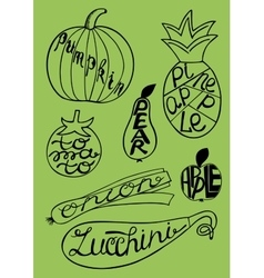 Set of fruits and vegetables with labels vector