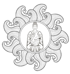 Sitting buddha in lotus pose in waves vector
