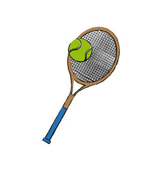 Tennis racket and ball sport equipment vector