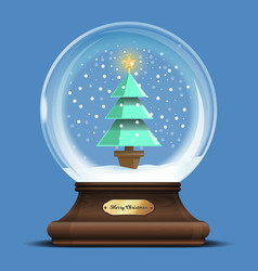 Transparent glass sphere with a christmas tree vector