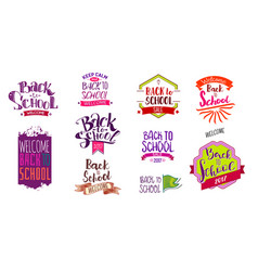 welcome back to school labels vector image vector image