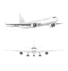 White jet airplane in the air set vector