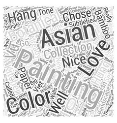 love of asian botanical paintings Word Cloud vector image