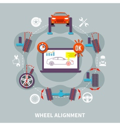Wheel Alignment Flat Design Concept vector image