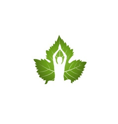 Yoga logo on green leaf vector