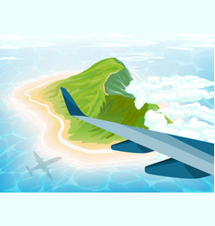 Island in ocean view from airplane vector